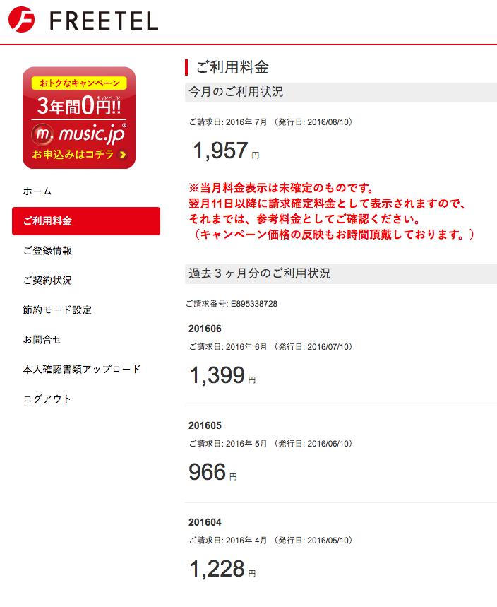 7月はfreetelの通信費、上がったね。2,000円には届かないけど